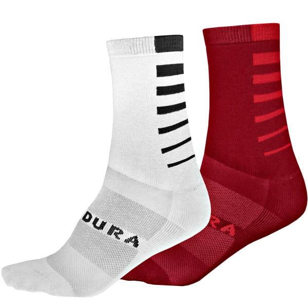 CoolMax Race Stripe Socken - Weiss/Rot