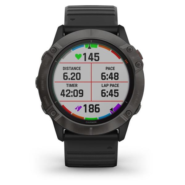 FENIX 6X Pro Solar - GPS-Armbanduhr - Schwarz/Grau