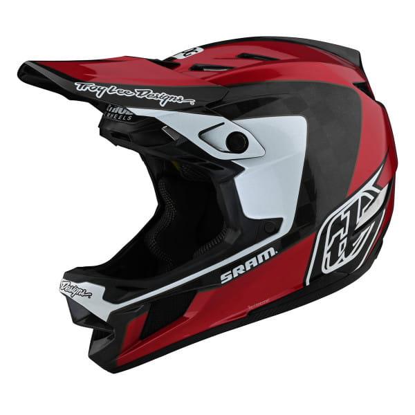 D4 Carbon - Fullface Helm - Corsa Sram Red - Rot/Schwarz/Weiß