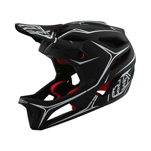 Stage Helmet (MIPS) Pinstripes Fullface-Helm - Schwarz/Weiß