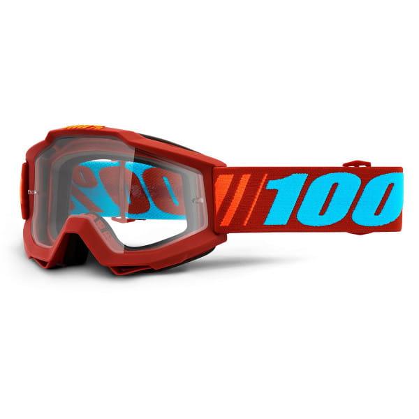 Accuri Goggles Anti Fog Clear Lens - Rot/Blau