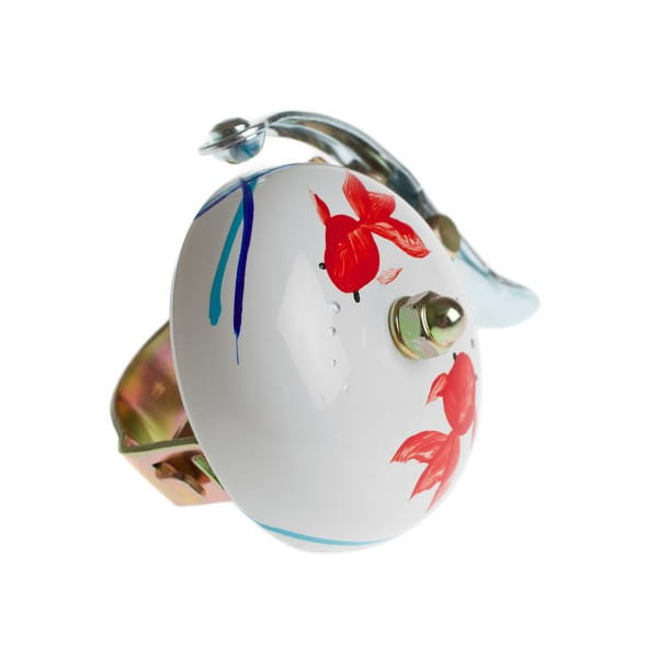 Hand Painted Bell - White - Koi Design