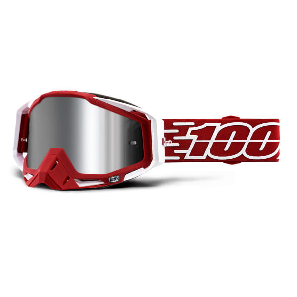 Racecraft Plus Goggle injected mirror lens - Rot/Weiß