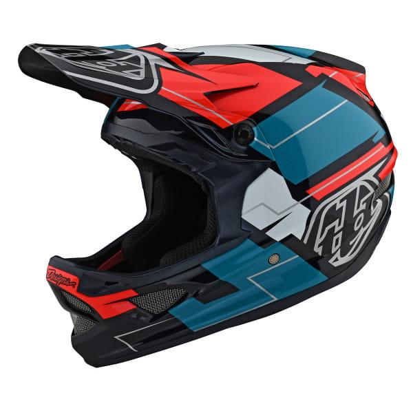 D3 Fiberlite - Fullface Helm - Vertigo Blue - Blau/Rot/Weiß/Schwarz