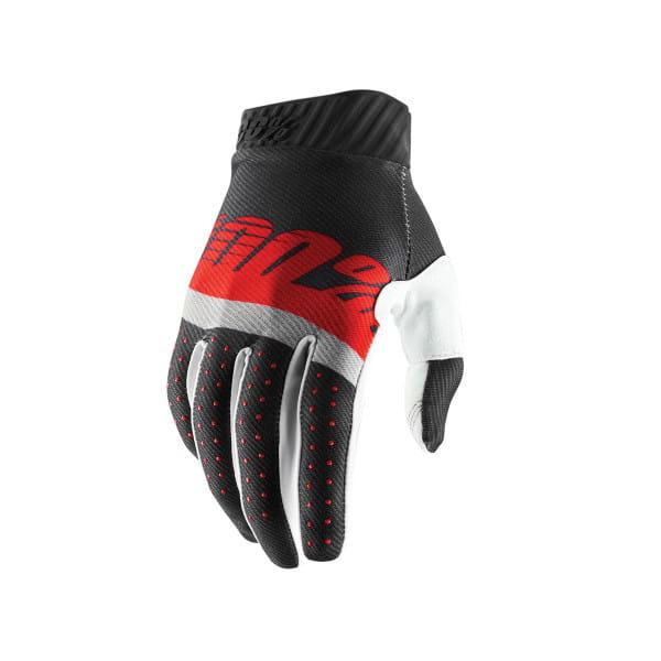 Ridefit Handschuh - Stahlgrau/Rot