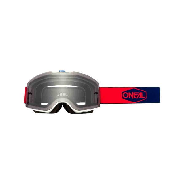 B-20 Goggles Plain Grau - Rot/Blau