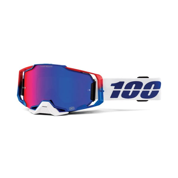 Armega Goggles Anti Fog - Weiß/Blau/Rot - verspiegelt